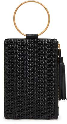 THACKER Nolita Ring Handle Woven Leather Clutch