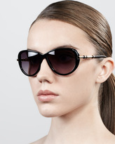 Givenchy Semi-Round Gradient Butterfly Sunglasses, Shiny Black