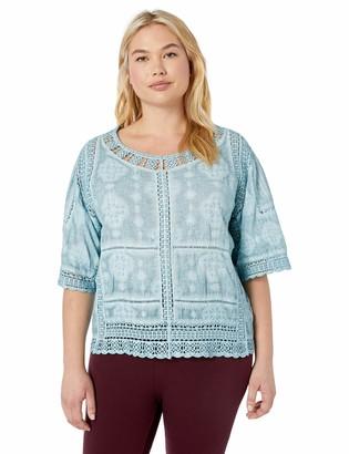 Democracy Women's Plus Size Crochet Top with Kimono Sleeve