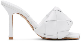 Bottega Veneta White Intrecciato Lido Heeled Sandals