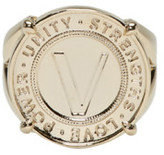 Versace Gold Infinity Medallion Chevalier Ring