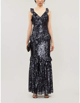 NEEDLE AND THREAD Scarlett ruffled V-neck sequinned gown