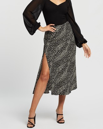 Atmos & Here Atmos&Here - Women's Black Midi Skirts - Lizzy Skirt - Size 12 at The Iconic