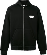 Givenchy logo patch zip hoodie - men - Calf Leather/Viscose - S