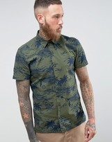 Schott Isla Military Hawaiian Shirt Short Sleeve In Green