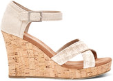 Toms Natural Woven Women's Cork Strappy Wedges