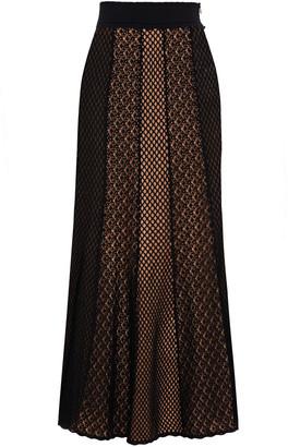 Alexander McQueen Crochet-knit Cotton-blend Midi Skirt