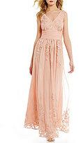 Jessica Howard Embroidered Mesh V-Neck Sleeveless Shirred Waist Gown