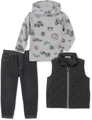 Kids Headquarters Baby Boys 3-Pc. Vest, Truck-Print Hoodie, & Denim Jogger Pants Set