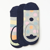 Happy Socks Spots Shoe Liners, One Size, Pack Of 3, Navy/grey/pastels