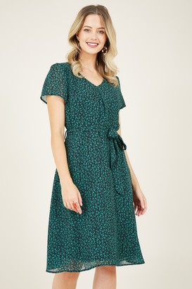 Yumi Green Ditsy Floral Skater Dress
