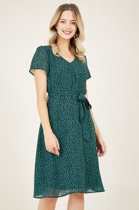 Yumi Green Ditsy Floral Skater Dress