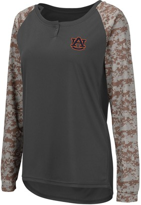 Colosseum Women's Charcoal/Camo Auburn Tigers United We Stand Camo Raglan Long Sleeve Henley T-Shirt