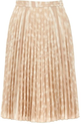 Burberry Pleated Deer Print Midi Skirt