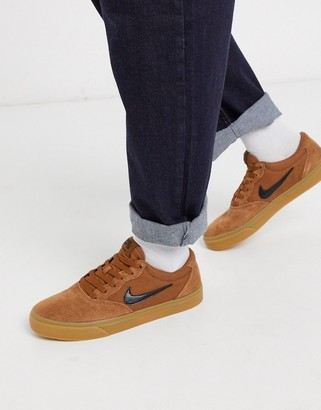 Nike SB Chron suede trainers in brown