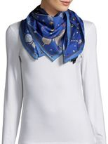 Saks Fifth Avenue Jeweled Butterfly Silk Scarf