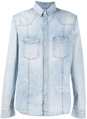 Givenchy Distressed Detail Faded Effect Shirt