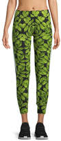 Norma Kamali Leaf-Print Side-Stripe Jogger Pants