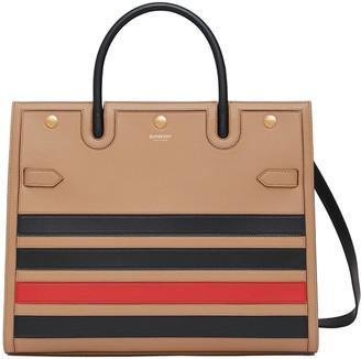 Burberry Title Tricolor Stripe Tote Bag
