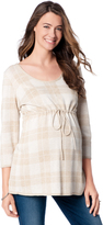 Motherhood Plaid Babydoll Tunic Maternity Sweater
