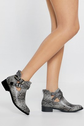 Nasty Gal Womens Fangs Ever So Much Snake Buckle Boots - Grey - 3, Grey