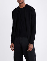 Comme des Garcons Distressed-underlay wool cardigan