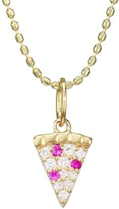Sydney Evan 14K Yellow Gold, Diamond & Ruby Pizza Pendant Necklace