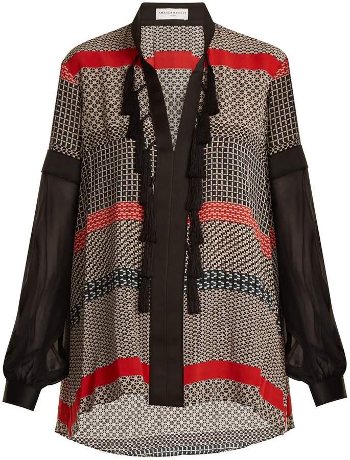 Amanda Wakeley Geometric-print silk crepe de Chine blouse
