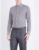 Richard James Optic cube-patterned fitted cotton shirt