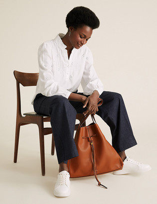 Marks and Spencer Faux Leather Drawstring Tote Bag