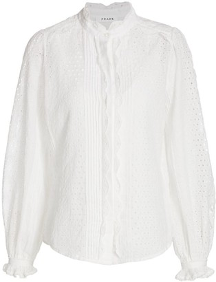 Frame Pleat Button-Down Shirt