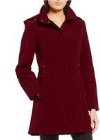 Gallery Petite Quilted Zip Front Detachable Hood Jacket