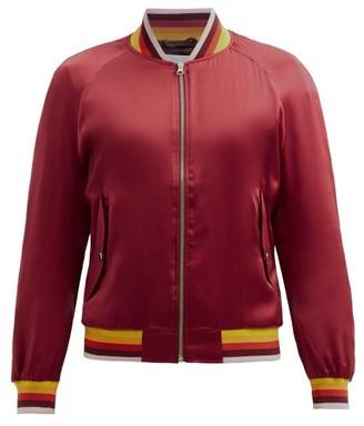 Casablanca Embroidered Silk Bomber Jacket - Red