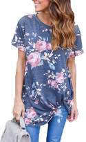 Moore Womens Summer Casual Short Sleeve Floral Knot Blouse Tops for Juniors Shirts