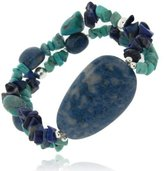 Glitzs Sterling Silver Denim Lapis, Created Turquoise Chips & Nuggets Stretch Bracelet