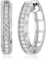 Amazon Collection Rhodium Plated Sterling Silver Cubic Zirconia Diamond Cut Hoop Earrings
