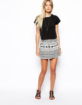 Asos Culotte Shorts in Mono Geo-Tribal Print