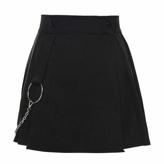 Malleable Women Solid Color Dress High Waist Paneled Pleated Skirt Side Removable Chain Skirt Casual Mini Basic Skirt Black