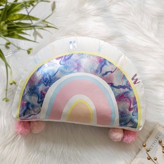"Phantoscope Kids Pillow Rainbow Shape with Pom Pom Soft Print Velvet Series Decorative Throw Pillow, 13"" x 17"", Pink, 1 Pack"