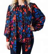 Hunter Bell Black Women's 6 Finley Floral-Print Tie-Neck Blouse