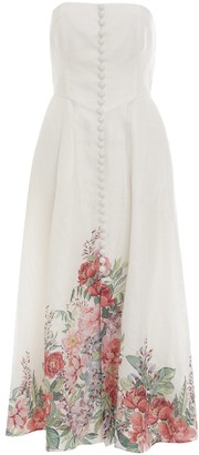 Zimmermann Bellitude Strapless Floral Dress