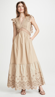 Self-Portrait Broderie Sleeveless Maxi Dress