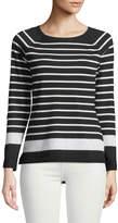 Neiman Marcus Breton Striped Crewneck Sweater