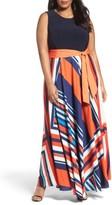 Eliza J Plus Size Women's Tile Print Jersey & Crepe Maxi Dress