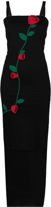 Dolce & Gabbana Rose-Applique Fitted Midi Dress