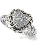 Effy Sterling Silver & 18K Yellow Gold Diamond Pave Heart Shape Ring - Size 7 - 0.147 ctw