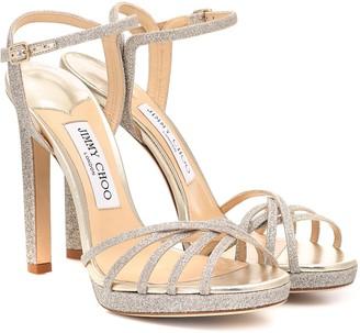 Jimmy Choo Lilah 120 glitter platform sandals