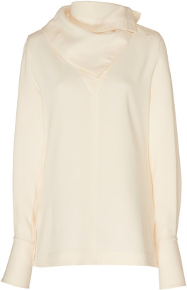 3.1 Phillip Lim Long Sleeve Crepe Blouse With Removable Scarf