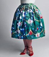 Unique Vintage Plus Size 1950s Green Light Up Christmas Tree High Waist Swing Skirt