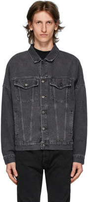 Palm Angels Black Denim Logo Over Jacket